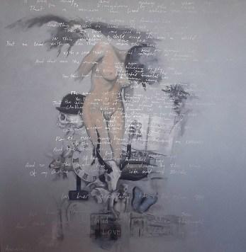 Nikola Vudrag, ''Anabel Lee'', kombinirana tehnika, 140 x 140 cm