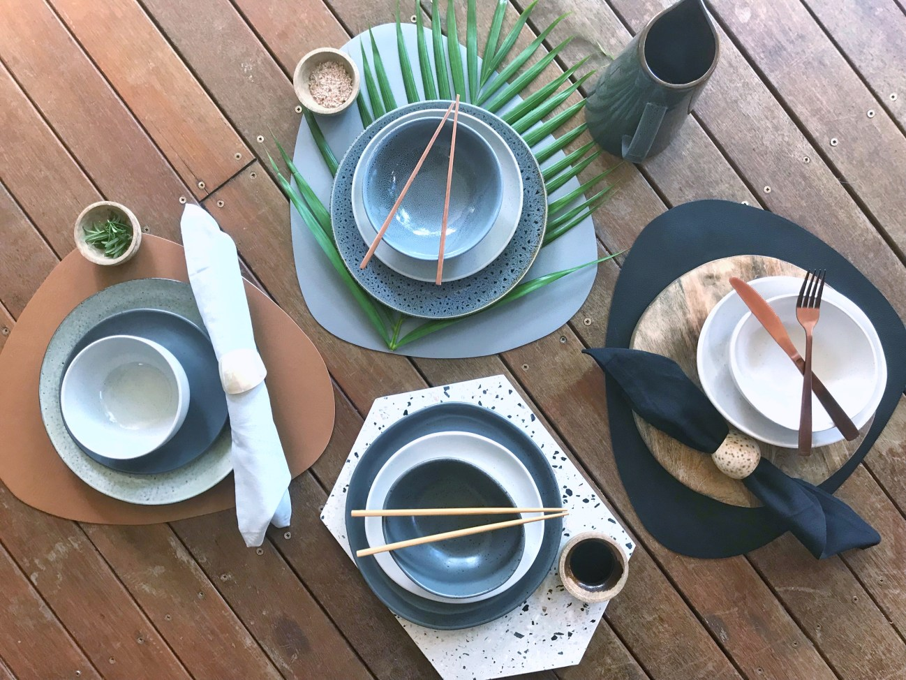 Place setting combinations using Kmart materials