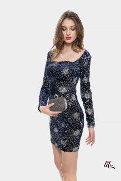 Елегантна синя велурена рокля