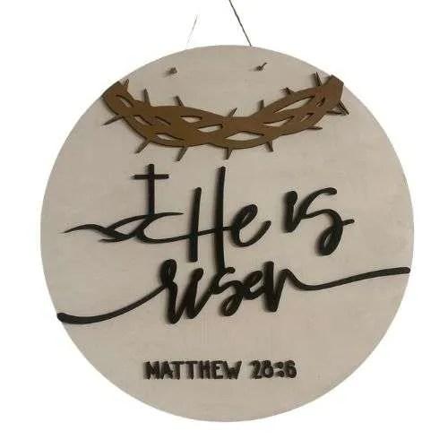 He is risen Mathew Sign