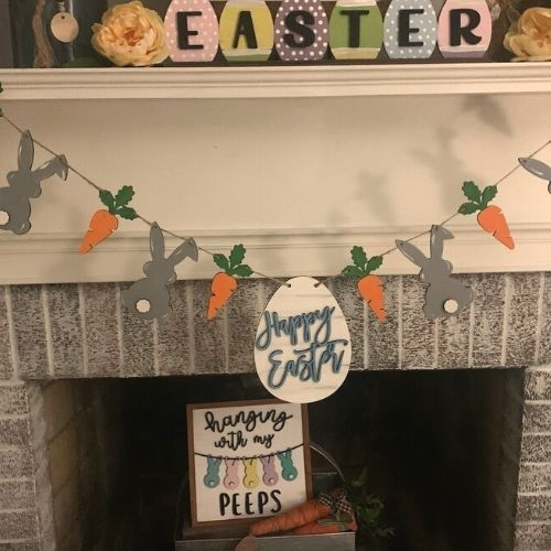 Easter Bunny and Carrot Banner