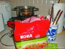 Cooking home. My favorite MSGless instant noodles. Koka offers vegetarian choices.