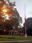 Inside Malacañang Palace, displaying a Philippine flag at half-mast to mark the passing of DILG Sec. Jesse Robredo