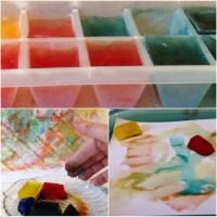 Sommer, Sonne, Eis, mal anders - oder - Malen mit Eiswürfeln