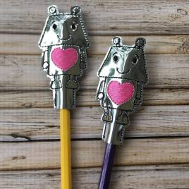 ITH Robot Pencil Topper 4×4 and 5×7 included- Embroidery Design – DIGITAL Embroidery DESIGN
