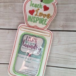 ITH Teach Love Inspire ID holder/luggage tag – 5 x 7 – Embroidery Design – DIGITAL Embroidery design