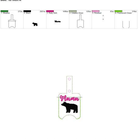 Mama Bear sanitizer holder snap tab 5×7