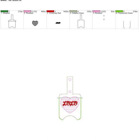 Xoxo Sanitizer holder snap tab 5×7