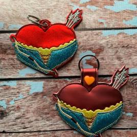 ITH – Valentine Arrow Warrior Princess Fobs 4×4 and 5×7 Grouped- Digital Embroidery Design