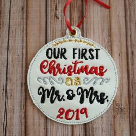 ITH – Our First Christmas as Mr. & Mrs. 2019 Ornament 4×4 and 5×7 grouped – Digital Embroidery Design
