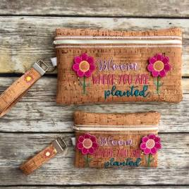 ITH – 3D Bloom Where You Are Planted Zipper Bag & Wristlet 5×7 and 6×10 – Digital Embroidery Design