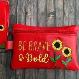 ITH – Be Brave & Bold Sunflower Zipper Bag 5×7 & 6×10 – Digital Embroidery Design
