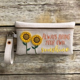 ITH – 3D Always Bring Your Own Sunshine Sunflower Zipper Bag & Wristlet 5×7 and 6×10 – Digital Embroidery Design