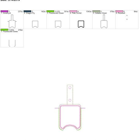 Applique Sanitizer holder snap tab 5×7