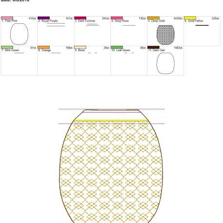 3D pineapple zipper bag 8×12
