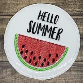 ITH Hello Summer Watermelon Coaster 4×4 – DIGITAL Embroidery DESIGN