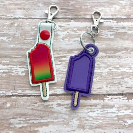 ITH Popsicle Applique Fobs – 4×4 and 5×7 grouped-DIGITAL Embroidery DESIGN