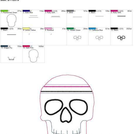 Skull zipper bag 6×10