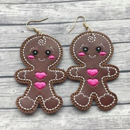 ITH – Gingerbread Cutie Earrings – 3 sizes – 4×4 and 5×7 Grouped- Digital Embroidery Design