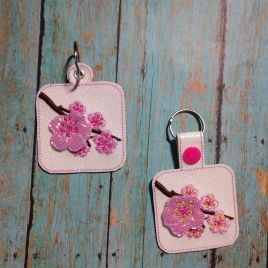ITH 3D Cherry Blossom Fobs 4×4 and 5×7 included- DIGITAL Embroidery DESIGN