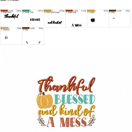 thankful blessed and kind of a mess 4×4