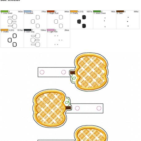 Plaid applique pumpkin snaptab 5×7 grouped