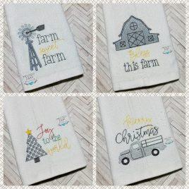 Farmhouse Christmas Towel Set – 2 Sizes – Digital Embroidery Design