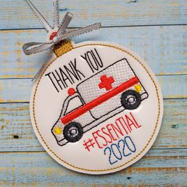 Ambulance Essential 2020 Ornament – Digital Embroidery Design