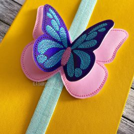 3D Butterffly – Book Band – Embroidery Design, Digital File