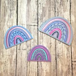 Boho Rainbow Felties – 3 sizes – 4×4 and 5×7 Grouped- Digital Embroidery Design