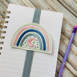 Boho Rainbow Moon Book Band – Embroidery Design, Digital File