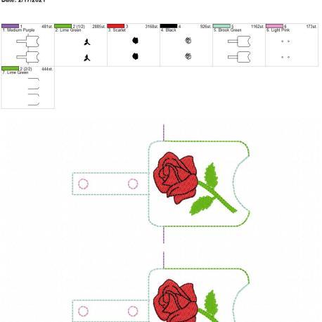 Rose Sanitizer holder snap tab 5×7 grouped