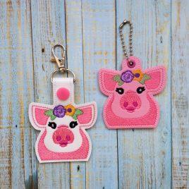 Floral Pig Fobs – DIGITAL Embroidery DESIGN