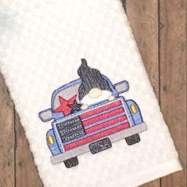 Gnome Truck USA Sketch – 2 sizes- Digital Embroidery Design