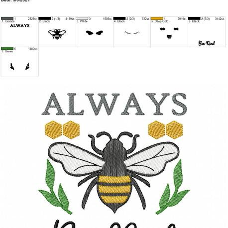 Always Bee Kind 6×10