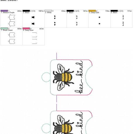 Bee Kind sanitizer holder eyelet 5×7 grouped
