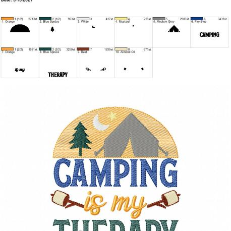 Camping is my therapy 5×7