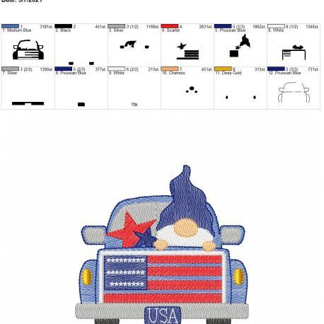 Gnome USA Truck Sketch 5×7