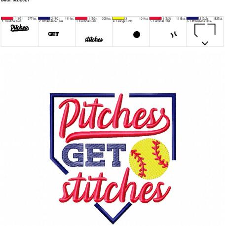 Pitches get stitches 5×7