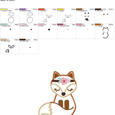 Boho Fox Applique 6×10