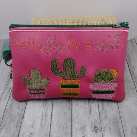 Pretty Fly For a Cacti Zipper Bag – 2 sizes – Digital Embroidery Design