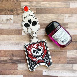 Skull Applique Fold Over Sanitizer Holder 5×7- DIGITAL Embroidery DESIGN