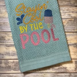 Stayin' Cool by the Pool – 3 sizes- Digital Embroidery Design