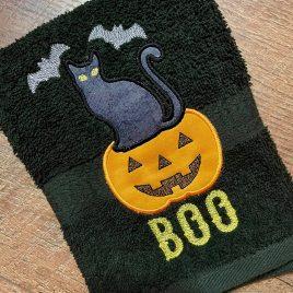 Cat Bat Boo Applique – 3 sizes- Digital Embroidery Design