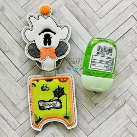 Miss Ghost Mouse Applique Fold Over Sanitizer Holder 5×7- DIGITAL Embroidery DESIGN