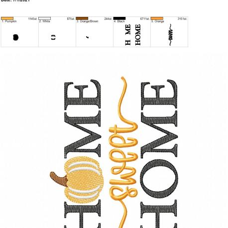 Home Sweet Home Pumpkin 5×7