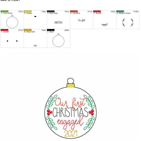 First Christmas engaged ornament 2021 4×4
