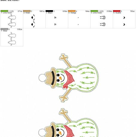 Snowman Cactus Ornament 5×7 grouped