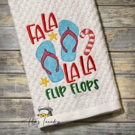 Fa La La La Flip Flops – 3 sizes- Digital Embroidery Design