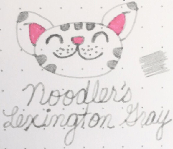Big Bang Theory's Soft Kitty drawn using Noodler's Lexington Gray and colored in using Pilot Iroshizuku Kosumosu (Cosmos Flower)